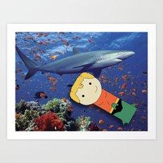 Aquaman Vs. Shark Art Print
