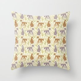 Adorable Fox Friends, Animal Pattern in Nature Colors of Grey and Brown with Paw Prints Throw Pillow