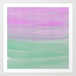 Modern Artistic Neo Mint Pink Watercolor Brushstrokes Art Print