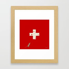 Swiss Cheese Flag Framed Art Print