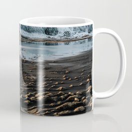 Icelandic black sand beach and mountain road - landscape photography Coffee Mug