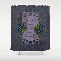 roald dahl Shower Curtains featuring Nouveau Roses by Hafapea