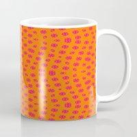 orange pattern Mugs featuring orange Pattern by LoRo  Art & Pictures