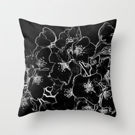 FLOWERS AT MIDNIGHT - IN BLACK & WHITE Throw Pillow