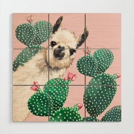 Llama and Cactus Pink Wood Wall Art