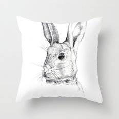 Cheeky Hare Throw Pillow