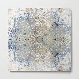 Yoga, Mandala, Blue and Gold, Wall Art Boho Metal Print