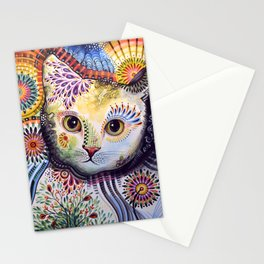 Lucy ... Abstract cat pet animal art Stationery Cards