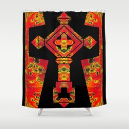 Cross of Ages in Red Shower Curtain