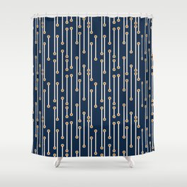 Dotted Lines in Navy, Cream and Orange Shower Curtain