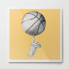 Basketball spin orange Metal Print