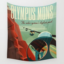 THE VOLCANO OF MARS - Olympus Mons | Space | X | Retro | Vintage | Futurism | Sci-Fi Wall Tapestry