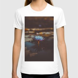 Purple & Blue Lotus Lily Flower Vintage Photography Floral Pond T-shirt