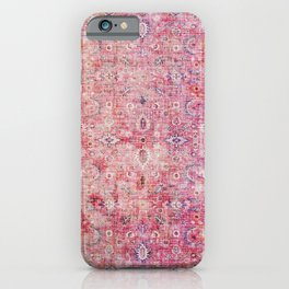 N45 - Pink Vintage Traditional Moroccan Boho & Farmhouse Style Artwork. iPhone Case