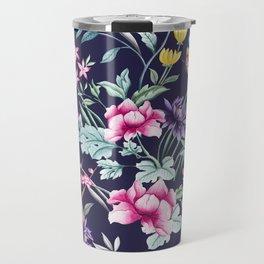 Navy Blue Chinoiserie Asian Floral Print Travel Mug