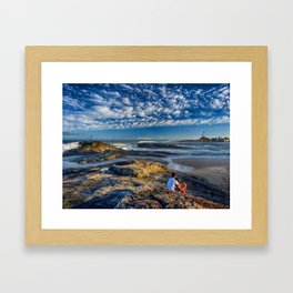 Lovers on the beach Framed Art Print