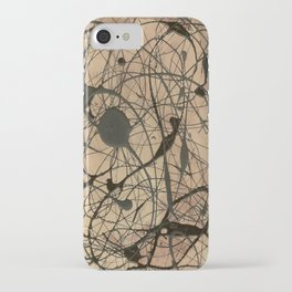Pollock Inspired Abstract Black On Beige iPhone Case