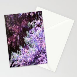 Purple Green Leaves Stationery Cards