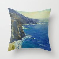 big sur Throw Pillows featuring Big Sur California by Michael Creese