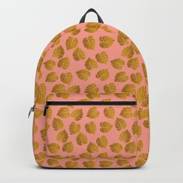 Gold Metallic Foil Monstera Leaves on Peachy Pink Backpack