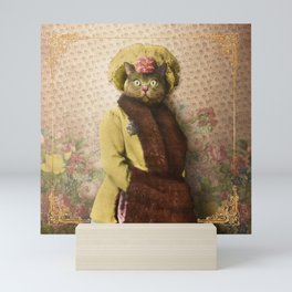 Lady Vanderkat with Roses Mini Art Print