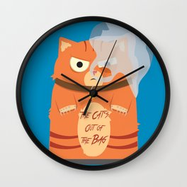 The Cat's Out of the Bag Wall Clock