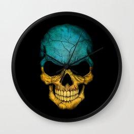 Dark Skull with Flag of Ukraine Wall Clock