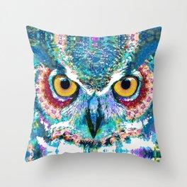 Colorful Horned Owl Art - Night Animal - Sharon Cummings Throw Pillow