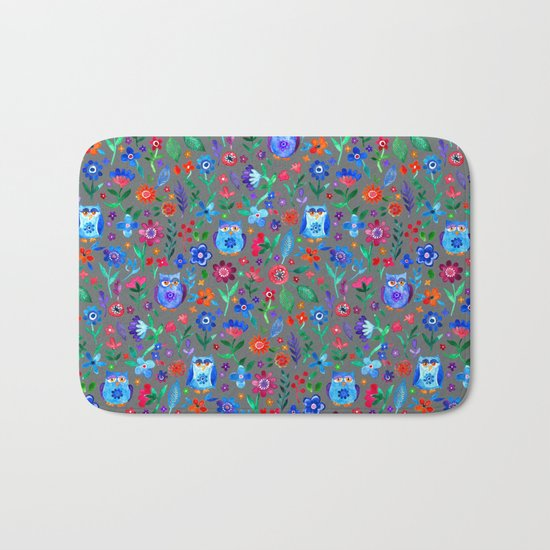 Little Owls and Flowers on Grey Bath Mat