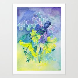 Bee Disappearance, Watercolor Painting Art Print