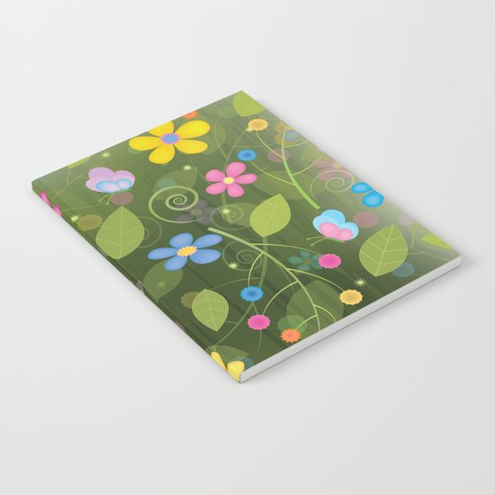 Floral and Butterfly Pattern - Summer Blooms Notebook
