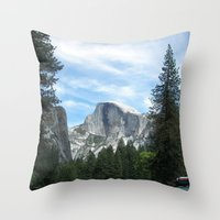 yosemite Throw Pillows featuring Yosemite by Angela McCall