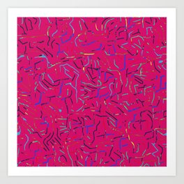 Abstract strokes pink Art Print
