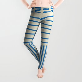 Digital Stitches thick beige + blue Leggings