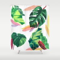 palm Shower Curtains featuring PALM by Ellie Cryer