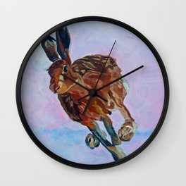 Hare Rabbit and Pink Wall Clock