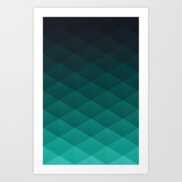 Graphic 949 // Grid Teal Fade Art Print