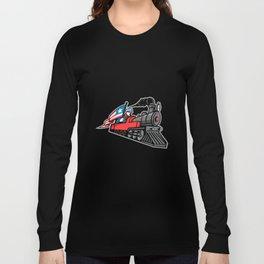 American Steam Locomotive Mascot Long Sleeve T-shirt