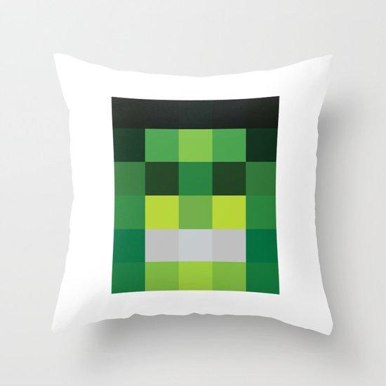 hero pixel green black Throw Pillow