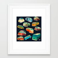 volkswagon Framed Art Prints featuring Kombi Heaven by Buster Fidez