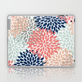 Floral Bloom Print, Living Coral, Pale Aqua Blue, Gray, Navy Laptop & iPad Skin