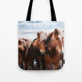 Red Horses Tote Bag