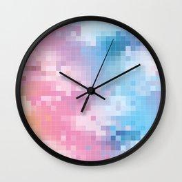 Rainbow Pixel Pattern Wall Clock