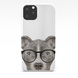 Pit bull with glasses Dog illustration original painting print iPhone Case