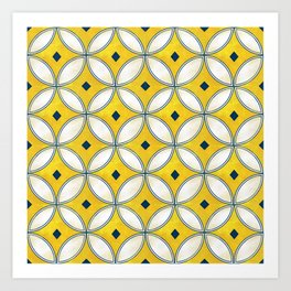 Mediterranean hand painted tile in Yellow, Blue and White Art Print