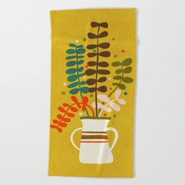 Potted Leaves Beach Towel