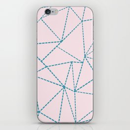 Ab Dotted Lines Blue on Pink iPhone Skin