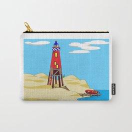A Lighthouse on a Sandy Beach on a Sunny Day Carry-All Pouch