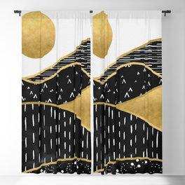 Gold Sun, digital surreal landscape Blackout Curtain