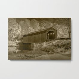 Infrared Sepia Toned Photograph of the Covered Bridge on the Flat River Metal Print